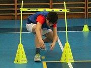 Olympijský trénink v tělocvičně 2. základní školy v Rakovníku.