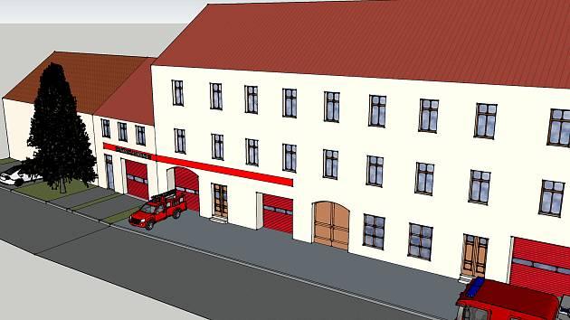 Studie rekonstrukce hasičské stanice v Novém Strašecí.