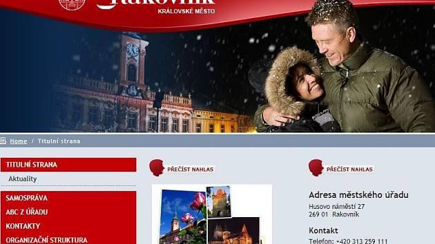 Současná podoba webových stránek města Rakovník.