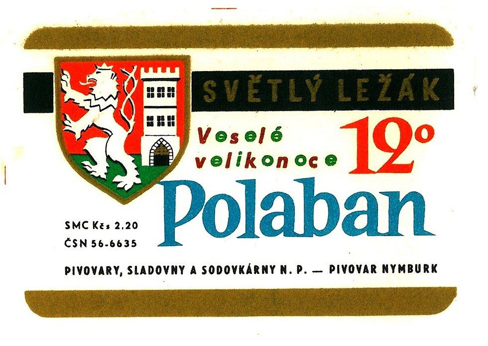 Pivní etiketa světlého dvanáctistupňového ležáku Polaban z šedesátých let minulého století.