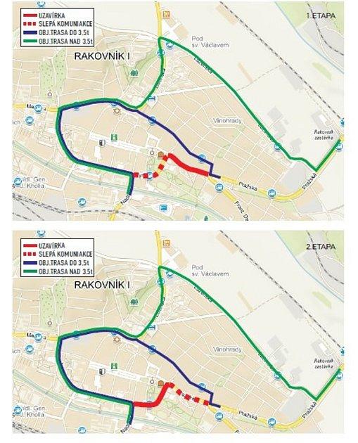 Celková rekonstrukce Pražské a Tyršovy ulice vRakovníku bude nejspíše trvat od 4.do 20.prosince. Řidiči budou muset využívat objízdných tras.
