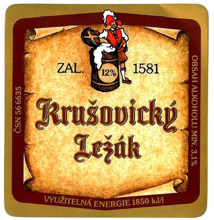 Královský pivovar Krušovice. Etiketa používaná v 90. letech minulého století.
