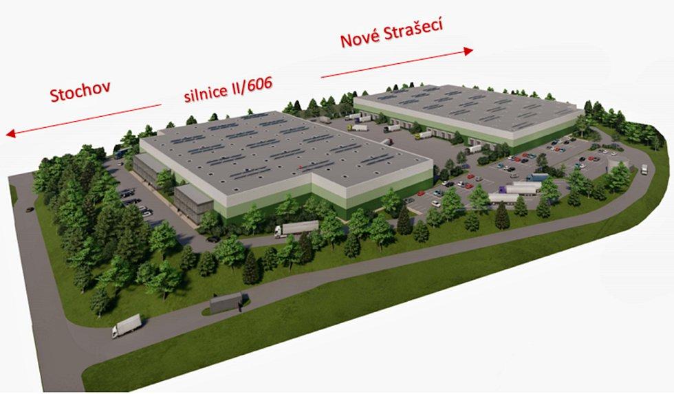 Vizualizace logistických hal, které mají vzniknout v Rynholci.