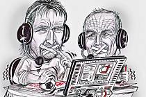 Kresba Jaromíra Bosáka a Vladimíra Táborského z dílny karikaturisty Milana Kounovského