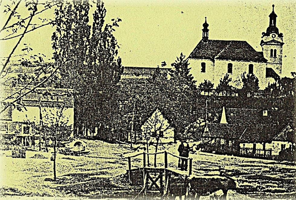 Jeden z nejstarších pohledů na Šanov z roku 1895.