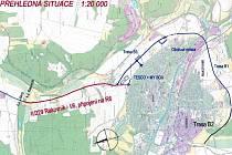 Plánovaná trasa obchvatu Rakovníka.