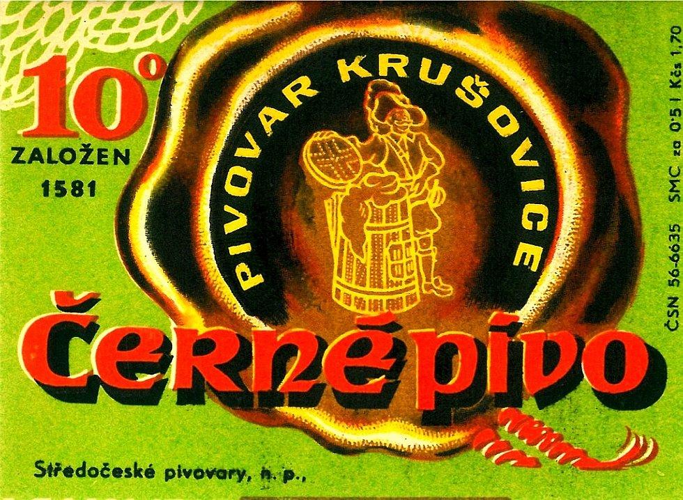 Královský pivovar Krušovice. Etiketa používaná v 50. letech minulého století.