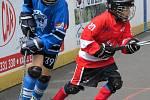 Letní pohár hokejbalových žáků - domácí Rakovník (v červeném), Beroun (v modrém) a vítězný Chomutov (v zeleném).
