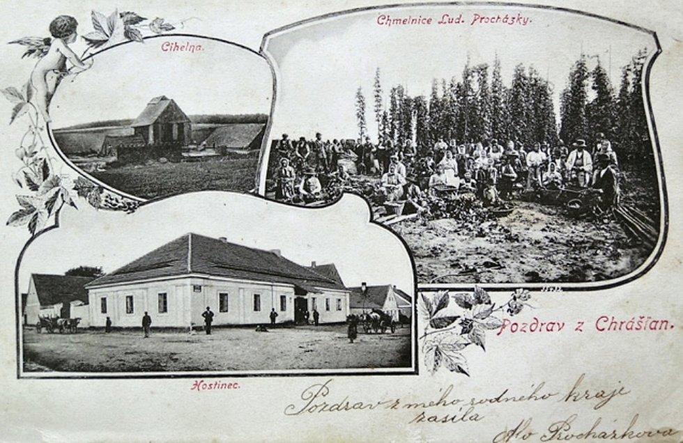 Chrášťany na historické pohlednici.