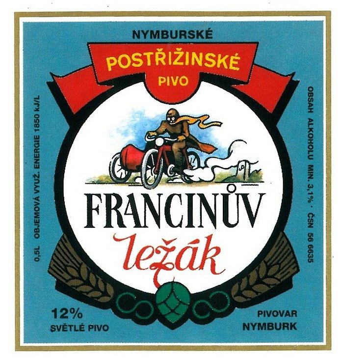 Pivní etiketa dvanáctistupňového piva Francinův ležák v 90. letech minulého století.