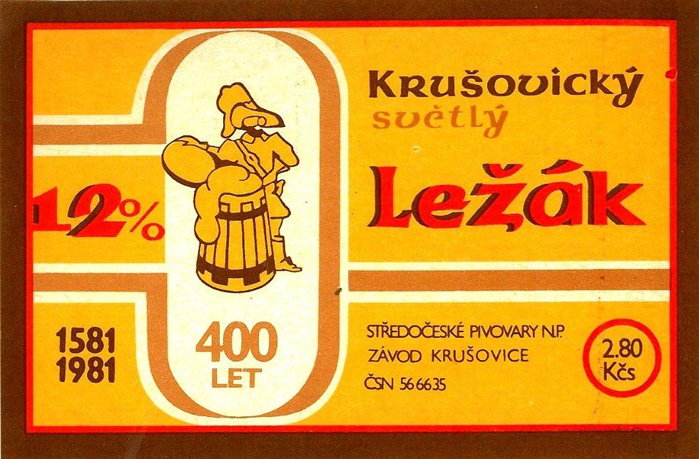 Královský pivovar Krušovice. Etikety používané od roku 1981.