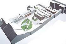 Vizualizace možné budoucí podoby nádvoří rakovnické radnice. Celkové náklady se dnes odhadují na 265 milionů korun.