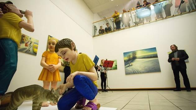 Slavnostní zahájení výstavy Martina Kuriše s názvem Modrák v Nové síni pod Vysokou bránou v Rakovníku.