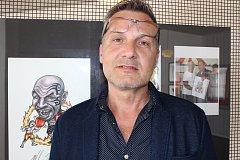 Slavnostní zahájení výstavy karikatur, kreseb a ilustrací Milana Kounovského v Městské galerii Viktora Olivy Nové Strašecí.