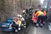 Nehoda na silnici I/6 u obce Řevničov.