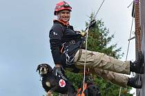 Martina Taterová se svými záchranáři přímo v akci. Vlevo pózuje Jack a vpravo labradorka Tereza.