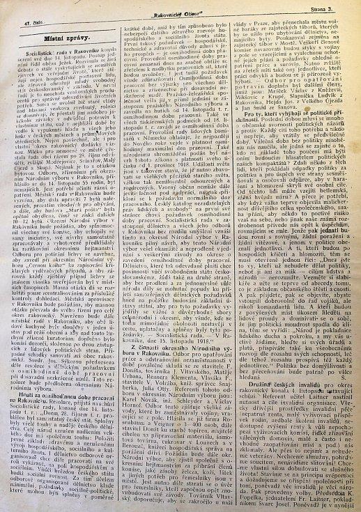 Rakovnický obzor informuje o událostech spojené se vznikem Československa.