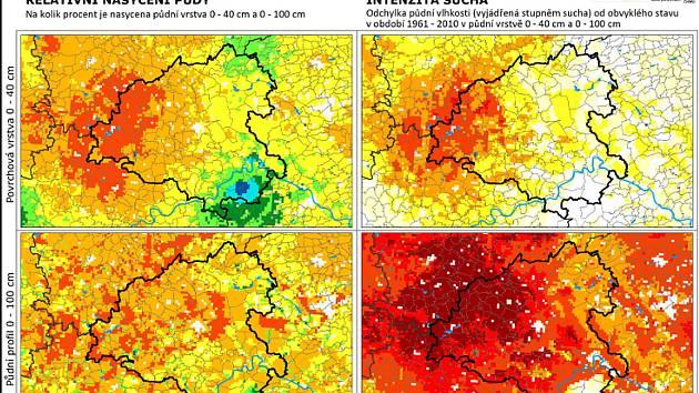 Podle mapy intersucho.cz je intenzita sucha nejhorší v západní a severozápadní části okresu.