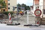 Rekonstrukce Sportovní ulice se zatím zdržela jen o měsíc. Kvůli plynovodu.