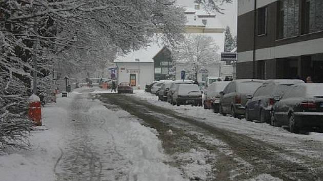 První sníh v Rakovníku 2010