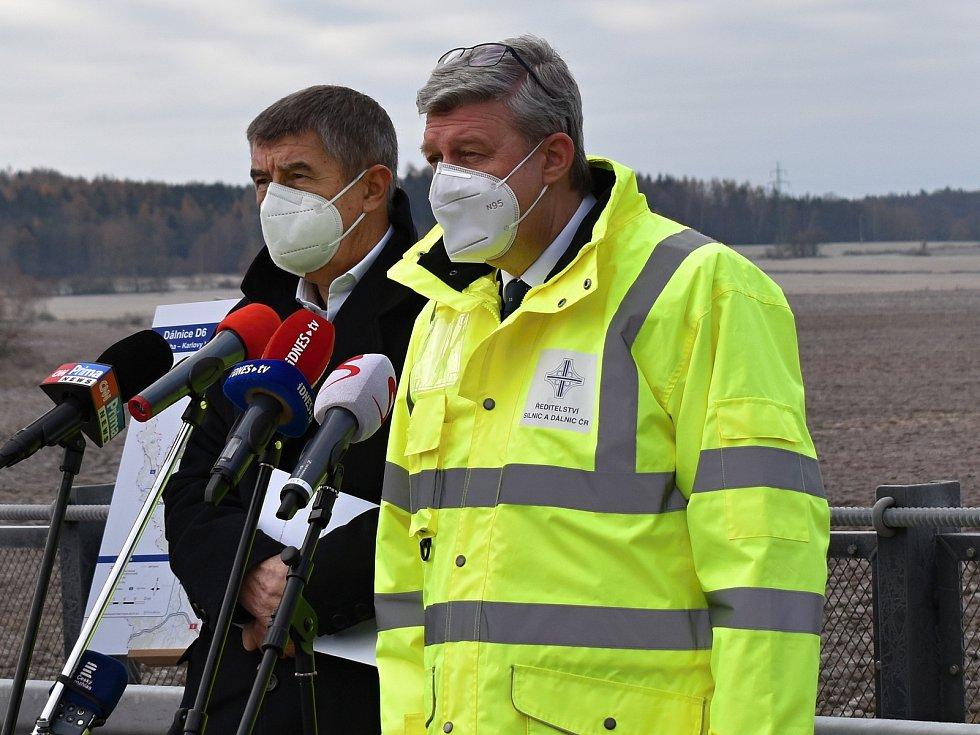Slavnostní otevření desetikilometrového úseku dálnice D6. Zleva premiér Andrej Babiš a ministr Karel Havlíček.