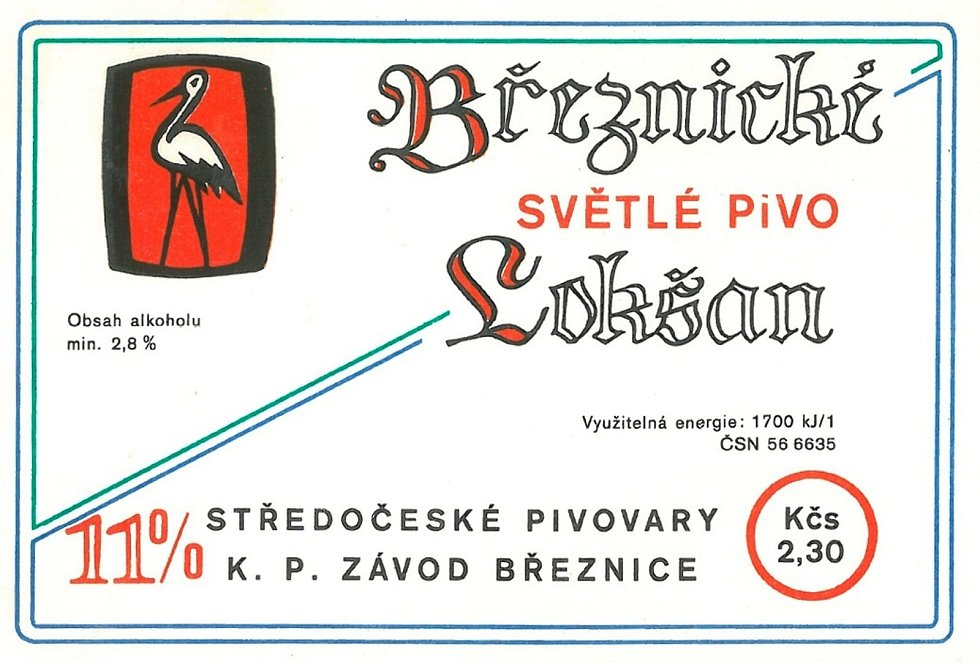 Jedenáctistupňové pivo Lokšan se svojí etiketou z 80. let.