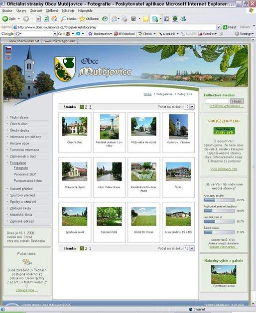 Úspěšné webové stránky Mutějovic.