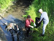 Studenti oboru ekologie a ochrana krajiny Střední zemědělské školy v Rakovníku vyčistili koryto Černého potoka.