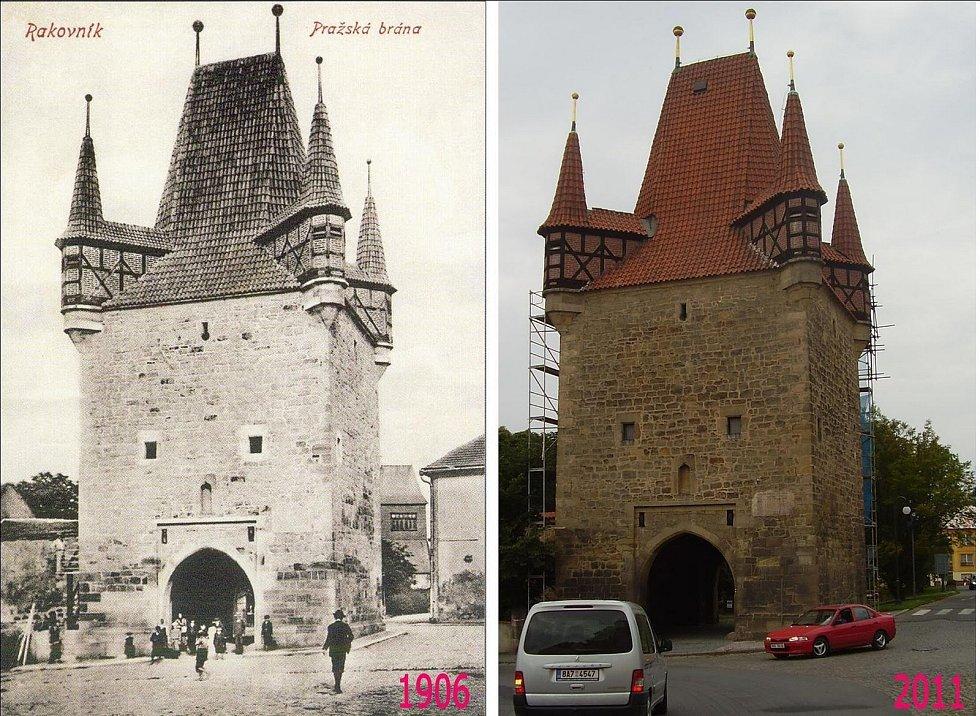 Pražská brána, jiný pohled. Jak je zřejmě, zástavba vpravo vzala za své. Důležité, že rakovničtí uchovali dvě brány ze čtyř.