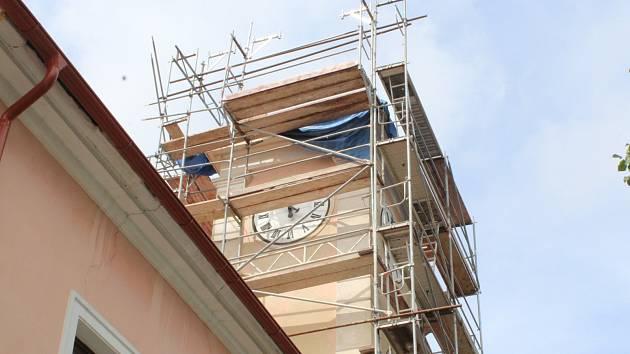 Oprava věže budovy historické radnice