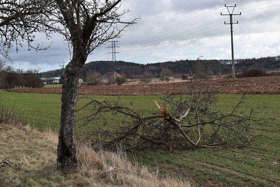 Většinu silnic zasypaly popadané větve, podobně jako u Lubné
