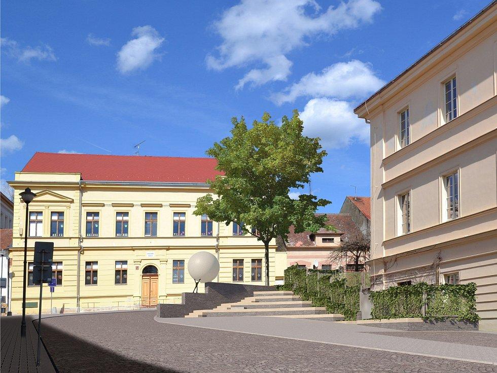 Vizualizace: plánovaná socha u budovy Gymnázia Zikmunda Wintra v Rakovníku.