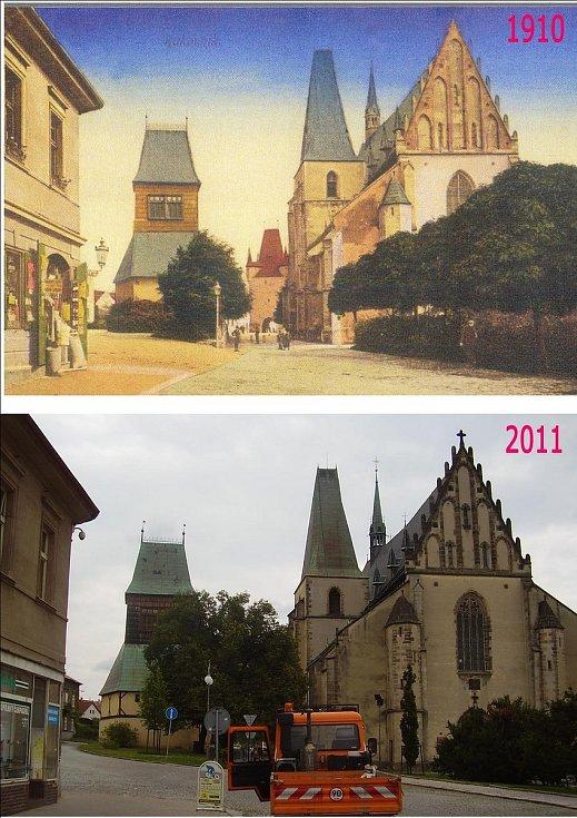 Kostel svatého Bartoloměje s dřevěnou zvonicí. Na fotce z roku 1910 vzadu vykukuje Pražská brána, na nové fotce je za neprůstřelnou zelení.