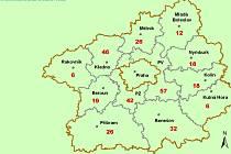Počet nakažených lidí v jednotlivých okresech Středočeského kraje.