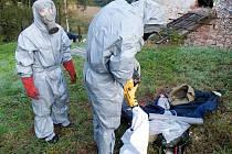 Luženští hasiči se připravují na likvidaci sršního hnízda.