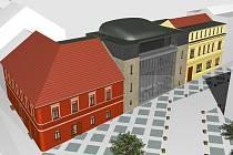 Budoucí podoba nového víceúčelového studijního a společenské centra v Rakovníku.