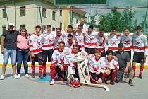 Mladší dorostenci rakovnického oddílu hokejbalu