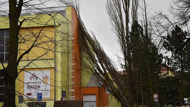 Silný vítr vyvrátil strom na sportovní halu v Rakovníku.