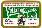 Speciální etiketa pro piva určená k exportu - 80. léta minulého století.