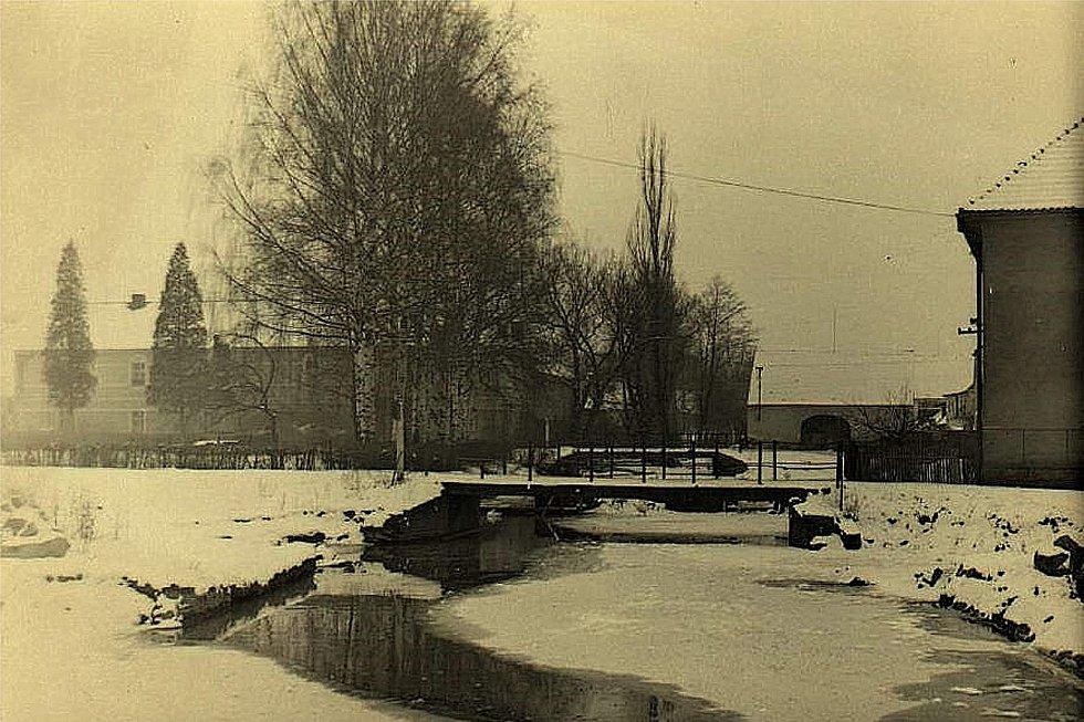 Šanov, pohled na mosty v roce 1960.