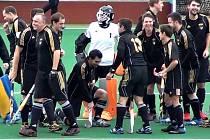 Rakovničtí pozemní hokejisté po vítězném utkání v Bohemians