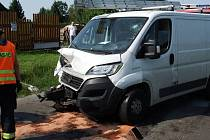 Sobotní dopravní nehoda u Bušovic.