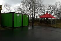 Kontejnery pro odběrné místo na testy koronaviru v Rokycanech