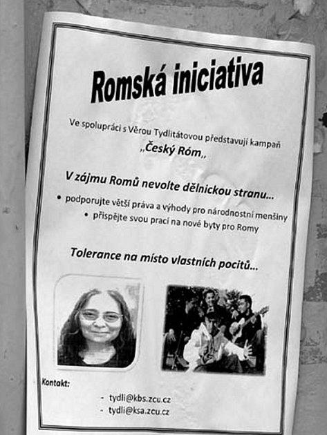 Plakát vylepený v Rokycanech.