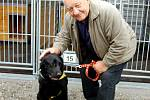 Na snímku je zachycen Zdeněk Srstka s asistenčním psem Alanem při natáčení pořadu Chcete mě?