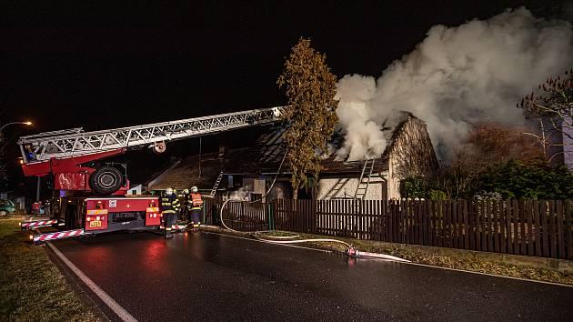 Požár stodoly v Hrádku