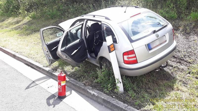 Nehoda na 60. kilometru D5 u Rokycan.