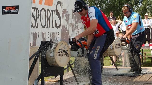 Dřevorubecký sport sklidil v Kornaticích u diváků velký úspěch.