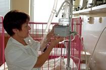 Primářka dětského oddělení rokycanské nemocnice Marie Přibíková (na snímku) ukazuje, jak funguje pračka  vzduchu a nebulizátor. Oba přístroje dostalo oddělení od Plzeňského kraje, a to díky výtěžku z charitativní akce Advent dětem.