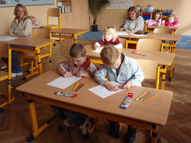 Zápis do 1. třídy ZŠ Mlečice absolvovali také  Tomáš Somr, Michal Gärtner a Natálka Tvrdá.